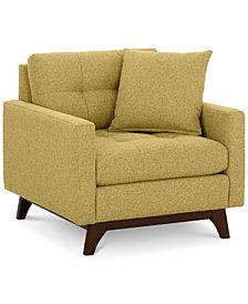 "Nari 36"" Fabric Tufted Armchair - Custom Colors, Created for Macy's"