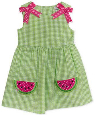 Rare Editions Gingham Seersucker Watermelon Dress Baby