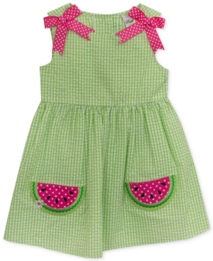 Kids 1950s Clothing & Costumes: Girls, Boys, Toddlers Rare Editions Gingham Seersucker Watermelon Dress Baby Girls 0-24 Months $11.73 AT vintagedancer.com