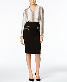 NY Collection Utility Blouse & Grace Elements Zip-Pocket Pencil Skirt