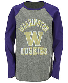 Retro Brand Washington Huskies Raglan Long Sleeve T-Shirt, Big Boys (8-20)