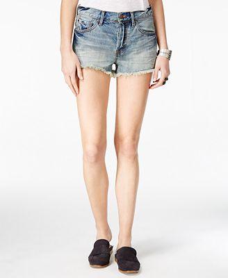 Free People Stilted Cotton Denim Cutoff Shorts
