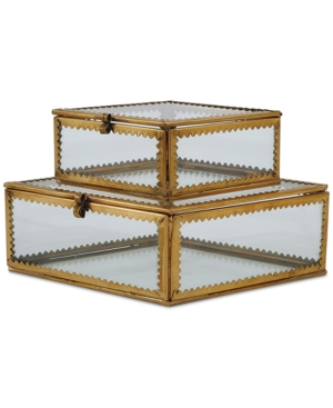 Glass and Metal Boxes Set of 2