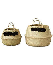 Set of 2 Round Wicker Collapsible Baskets