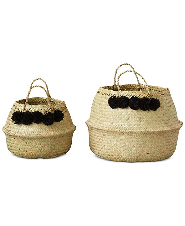 3R Studio Set of 2 Round Wicker Collapsible Baskets