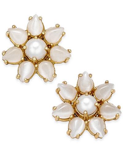 kate spade new york 14k Gold-Plated Imitation Pearl Flower Stud Earrings