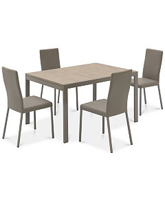 macchiato dining furniture 5 pc set expandable side table with self storing leaf 4 chairs - 4 Chair Dining Table