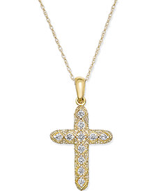 Diamond Cross Pendant Necklace (1/7 ct. t.w.) in 14k Gold