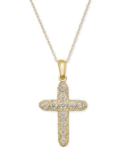 Diamond Cross Pendant Necklace (1/7 ct. t.w.) in 14k Gold