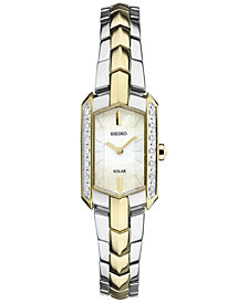 Seiko Women's Tressia Solar Diamond Accent Two-Tone Stainless Steel Bracelet Watch 15mm SUP358