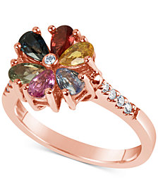 Multi-Sapphire (1-1/2 ct. t.w.) and Diamond (1/10 ct. t.w.) Flower Ring in 14k Rose Gold