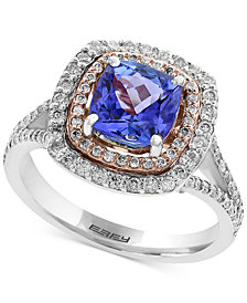 EFFY® Final Call Tanzanite (1-5/8 ct. t.w.) and Diamond (3/4 ct. t.w.) Ring in 14k White and Rose Gold