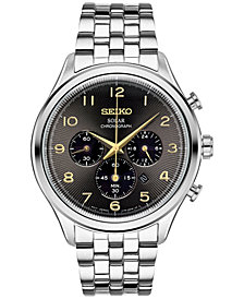 Seiko Men's Chronograph Solar Classic Stainless Steel Bracelet Watch 42mm SSC563