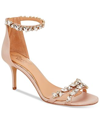 Badgley Mischka Caroline Embellished Ankle-Strap Evening Sandals Women's Shoes