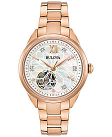 Bulova Women's Automatic Diamond Accent Rose Gold-Tone Stainless Steel Bracelet Watch 34mm 97P121