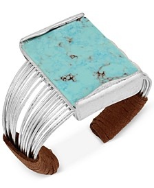 Silver-Tone Turquoise-Look Suede-Wrapped Cuff Bracelet