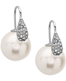 Nina Silver-Tone Pavé and Imitation Pearl Front-Back Earrings