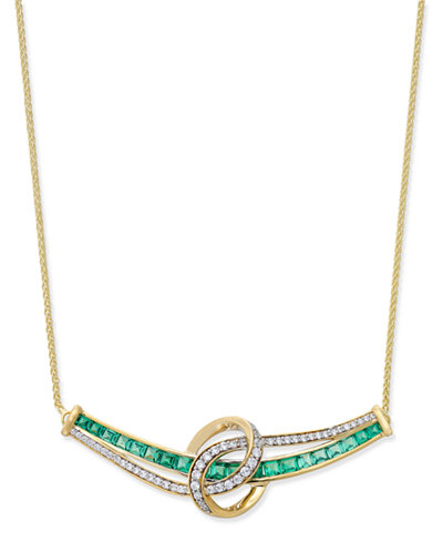 Emerald (1-3/4 ct. t.w.) and Diamond (1/4 ct. t.w.) Necklace in 14k Gold