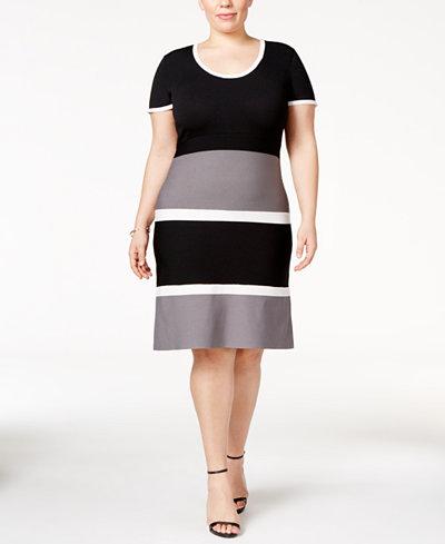 Anne Klein Plus Size Colorblocked Sweater Dress