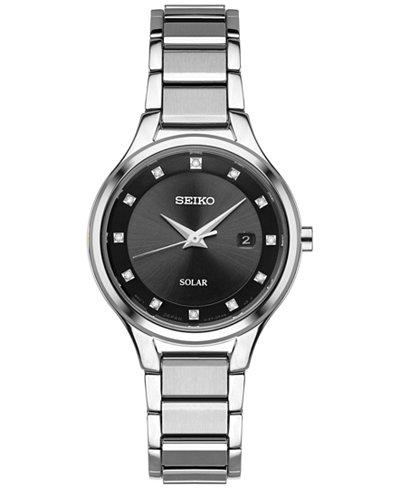 Seiko Women's Dress Solar Diamond-Accent Silver-Tone Stainless Steel Bracelet Watch 29mm SUT317