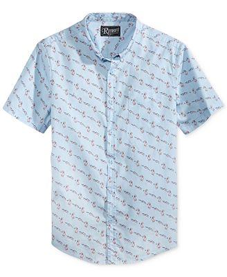 Retrofit Men's Flamingo Graphic-Print Cotton Pocket Shirt - Casual ...