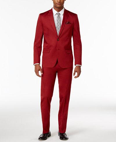 Ben Sherman Men's Slim-Fit Stretch Comfort Red Solid Suit - Suits ...