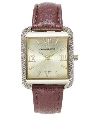 Charter Club Women's Gold-Tone Brown Faux Leather Bracelet Watch 32mm, Only at Macy's