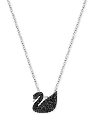 Image of Swarovski Two-Tone Black Pavé Iconic Swan Pendant Necklace