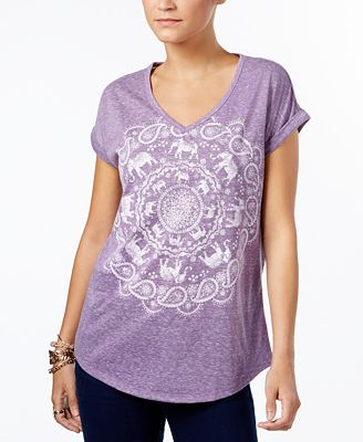 Style & Co Graphic-Print Cuffed-Sleeve T-Shirt, Created for Macy's
