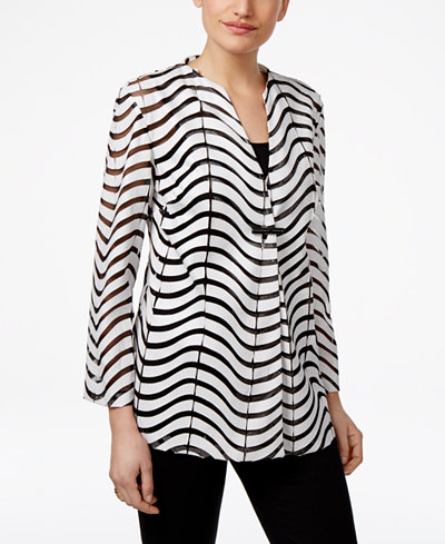 JM Collection Sheer-Striped Faux-Leather Jacket, Created for Macy's
