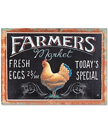 Farmers Market Rooster Tin Embossed Wall Decor