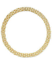 Italian Gold Textured Woven Necklace in 14k Gold-Plated Sterling Silver