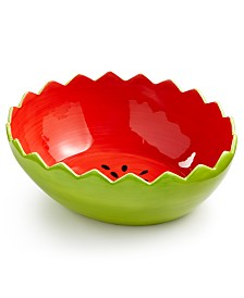 Martha Stewart Collection Ceramic Watermelon Bowl, Created for Macy's