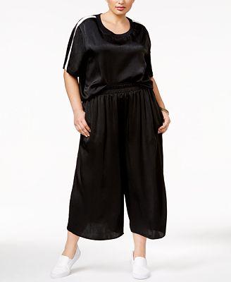 Soprano Plus Size Sateen T-Shirt & Culottes