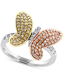 Trio by EFFY® Diamond Butterfly Ring (3/8 ct. t.w.) in 14k White Gold, Rose Gold and Gold