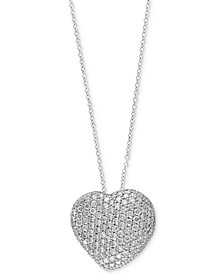 Pavé Classica by EFFY® Diamond Heart Pendant Necklace (2 ct. t.w.) in 14k White Gold