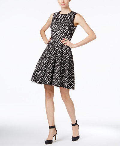 Calvin Klein Laser-Cutout Fit & Flare Dress