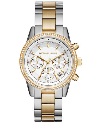 Women's Chronograph Ritz Two Tone Stainless Steel Bracelet Watch 37mm Mk6474 by Michael Kors