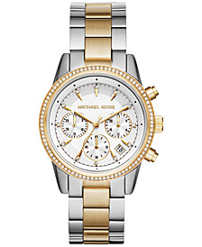 Michael Kors Women's Chronograph Ritz Two-Tone Stainless Steel Bracelet Watch 37mm MK6474