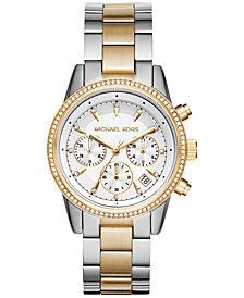 Michael Kors Women's Chronograph Ritz Two-Tone Stainless Steel Bracelet Watch 37mm MK6474