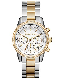 Michael Kors Ritz Collection Stainless Steel & Crystal-Accent Bracelet Watches