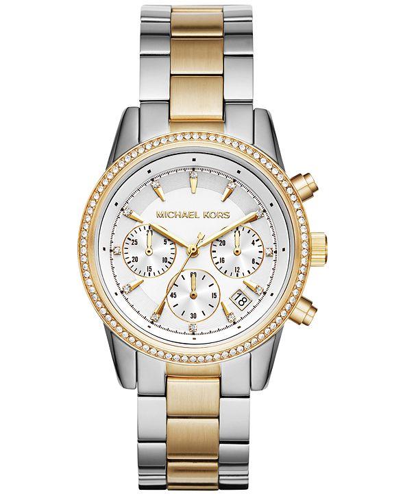 Michael Kors Women's Chronograph Ritz Two-Tone Stainless Steel Bracelet Watch 37mm