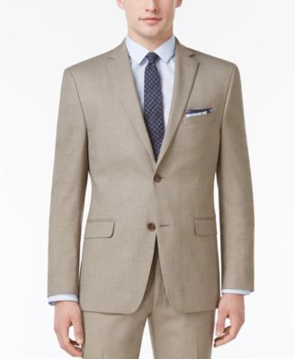 Men's Slim-Fit Traveler Light Brown Neat Jacket, Created for Macy's