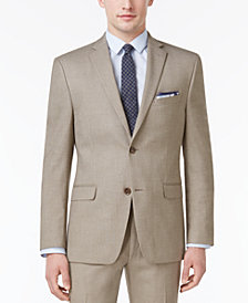 Alfani Men's Slim-Fit Traveler Light Brown Neat Jacket, Created for Macy's