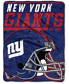"New York Giants Micro Raschel 46x60 ""40 Yard Dash"" Blanket"