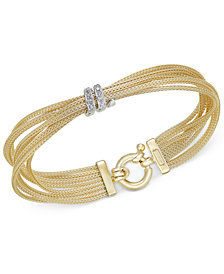 Diamond Multi-Strand Bracelet (1/4 ct. t.w.) in 14k Gold-Plated Sterling Silver