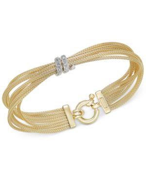 Diamond Multi-Strand Bracelet (1/4 ct. t.w.) in 14k Gold-Plated Sterling Silver -  Macy's