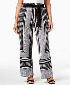 I.N.C. Plus Size Tie-Waist Palazzo Pants, Created for Macy's