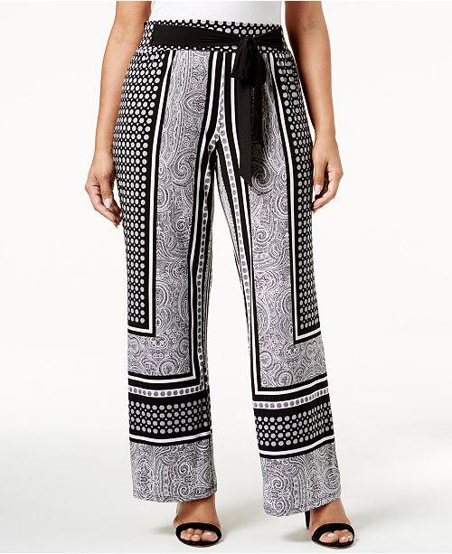 INC International Concepts INC Plus Size Tie-Waist Palazzo Pants, Created for Macy's