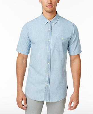 Ezekiel Men's Springfield Denim Cotton Shirt - Casual Button-Down ...